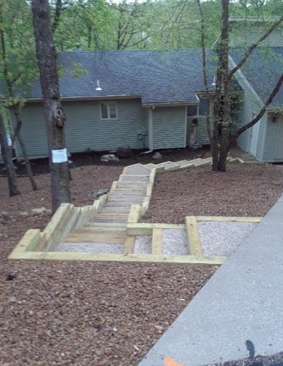 wood gravel outdoor steps