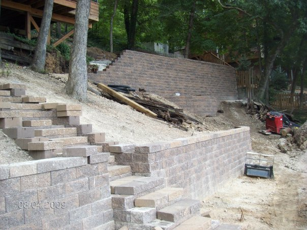 retaining walls being built