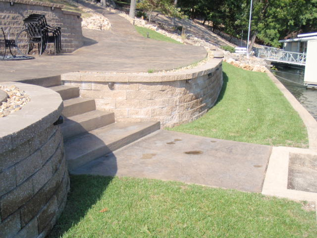 lakefront patio and retaining wall